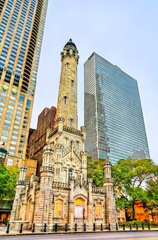 Historic chicago avenue water tower in chicago illinois, united states