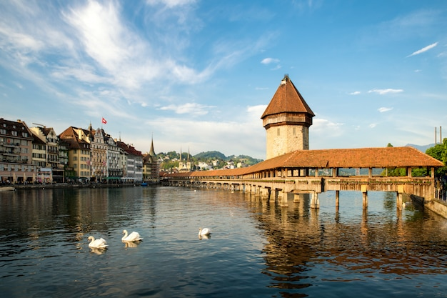 Historic city center of lucerne with famous chapel bridge in canton of lucerne, switzerland