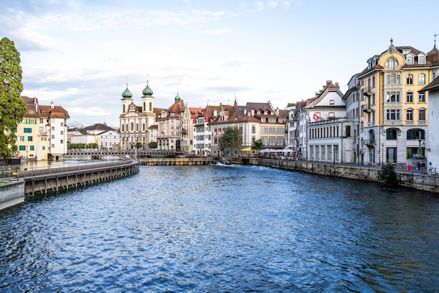 Historic city center of lucerne with famous chapel bridge in switzerland.
