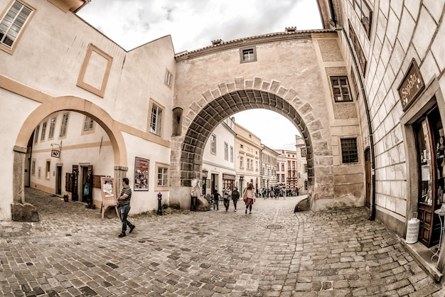 チェスキークルムロフの歴史的な旧市街。チェコ共和国