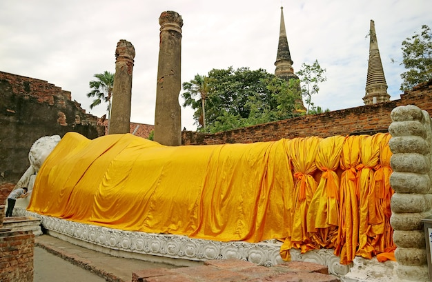 Historic reclining buddha image in wat yai chai mongkhon temple ayutthaya old city thailand
