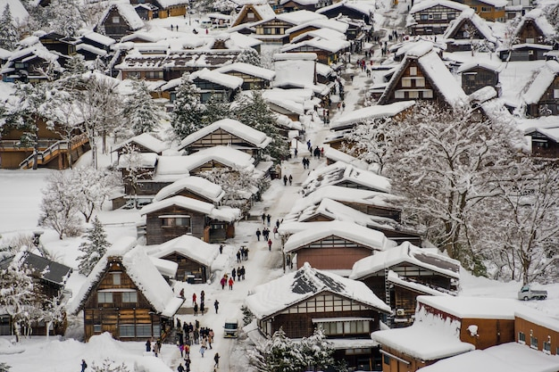 Historic villages of shirakawa-go and gokayama in winter season