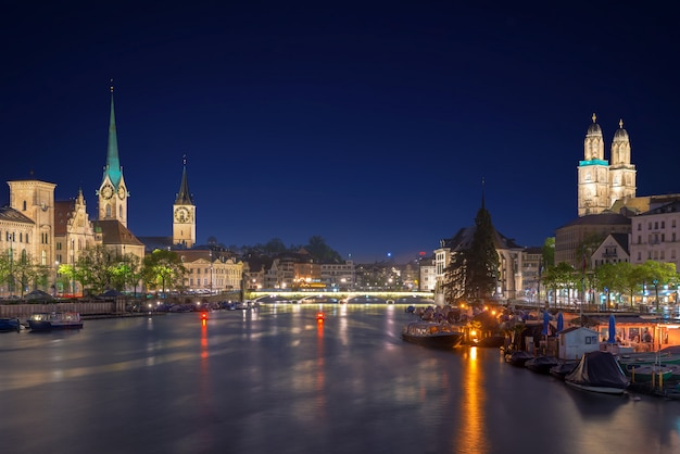 Historic zurich city center with famous fraumunster church