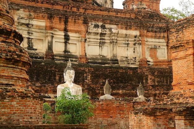 ワットヤイチャイモンコン古代寺院の歴史的な仏像