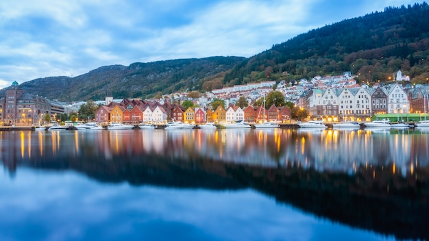 Historical building of bergen at morning