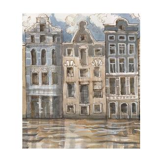 運河のイラストの歴史的建造物