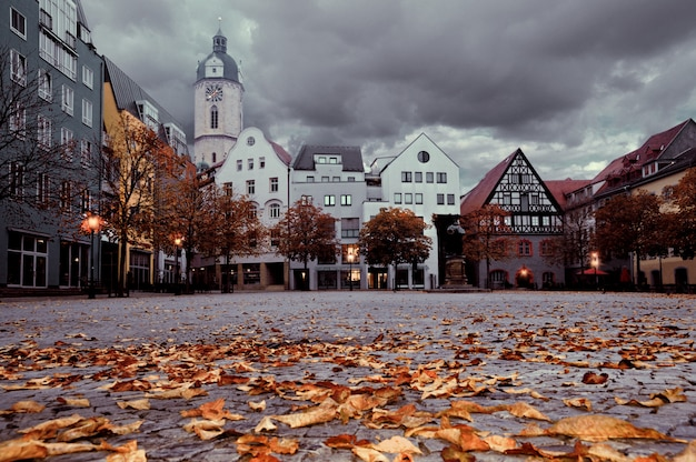 Historical buildings facing the market square in the ancient german city of jena, germany