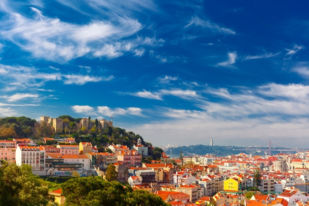 Historical centre of lisbon on sunny day, portugal