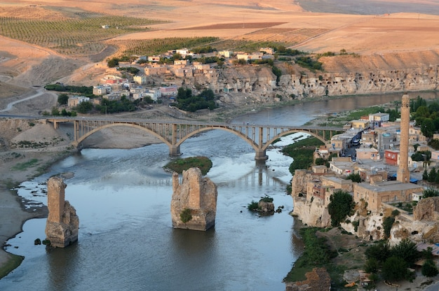 Historical city hasankeyf view. in danger to be under water in the near future.