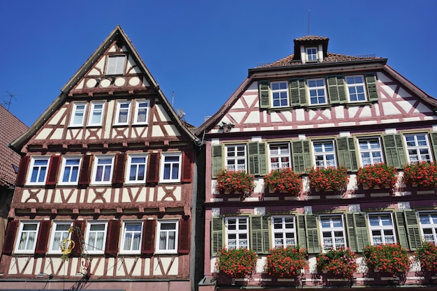 Historical half-timbered houses on the market square, calw, black forest, baden-wuerttemberg, germany.