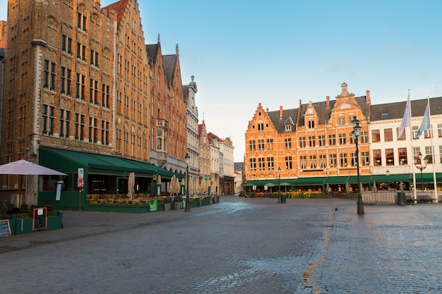 Historical medieval buildings on the market square, brugge, belgium