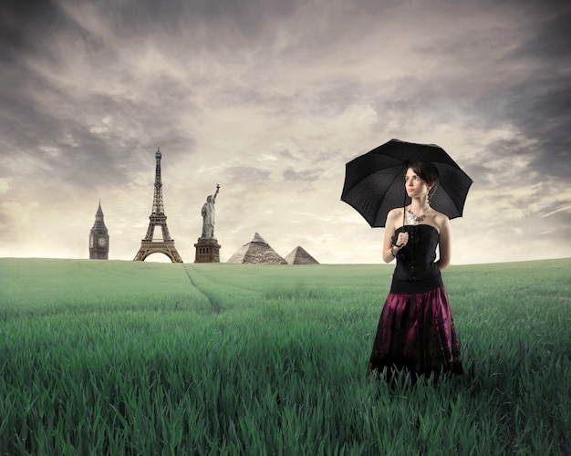 Historical monuments and an elegant woman