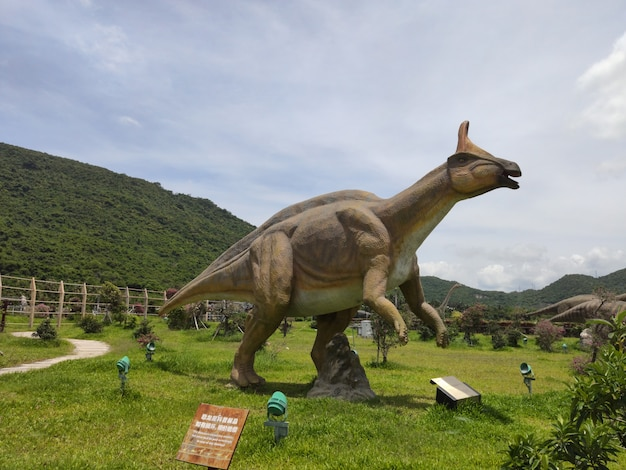 Historical sculptures of dinosaurs in the open air in whale