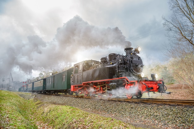 Historical steam train on rugen in germany
