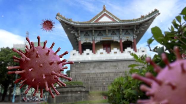 Южные ворота исторического тайбэя с концепцией коронавируса 2019