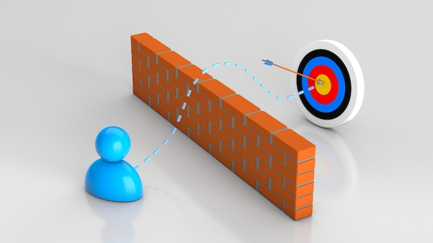 Hit the target solving a problem or obstacle in business and getting a successful result