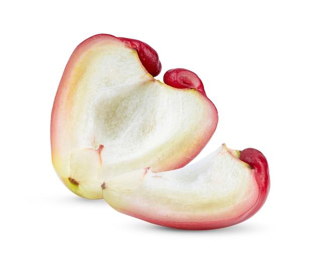 白い表面に分離されたhlafローズアップル Premium写真