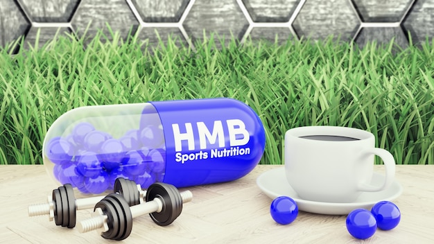 Hmb big pill, two dumbbells and a cup of coffee