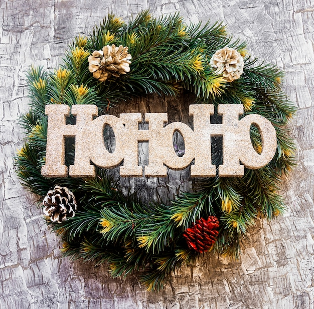 Ho ho ho title on christmas wreath