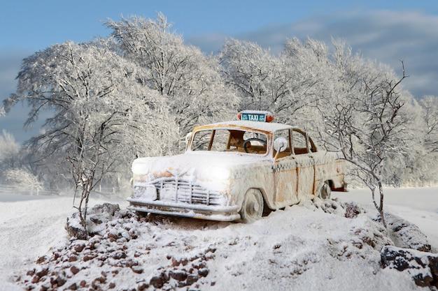 겨울 숲에 주차된 hoarfrostvintage 택시