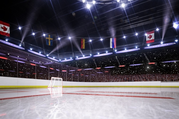 Hockey arena 3d render