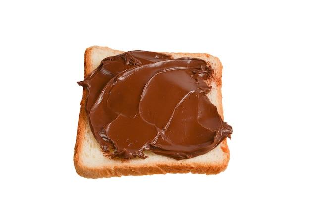 Ð¡白い背景で隔離のチョコレートペーストサンドイッチ。