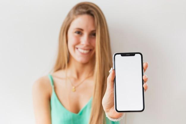 Макро женский hoding мобильный макет