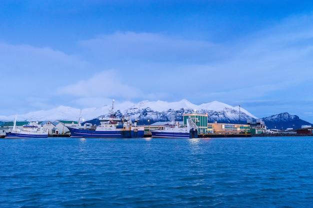 Hofn, iceland - 2017년 1월 9일: 아이슬란드 남동부의 hofn 항구의 전망