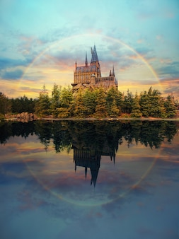 Hogwarts castle at universal studio japan with impressive sky and rainbow