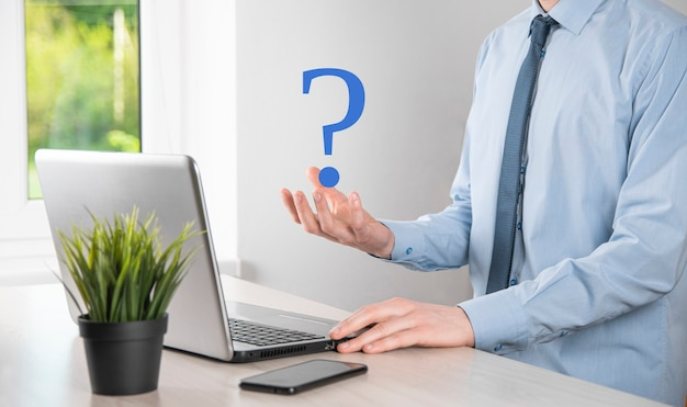 Hold interface question marks sign web. ask quiestion online, faq concept, what where when how why,