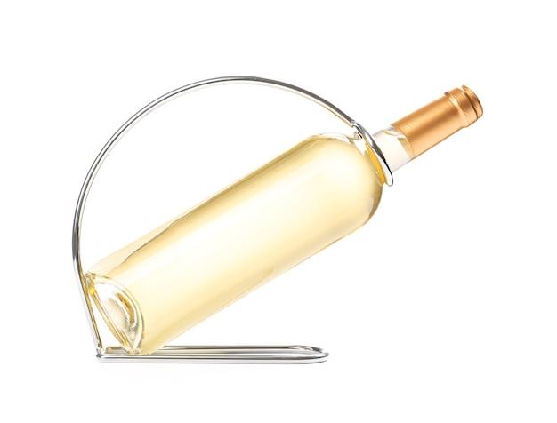 Держатель с бутылкой вина на белом