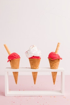 Holder with red ice cream cones