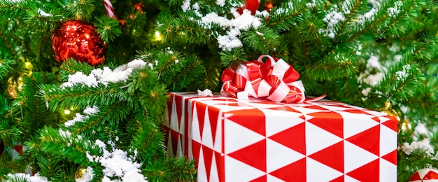 Holdiay present boxes under the christmas tree