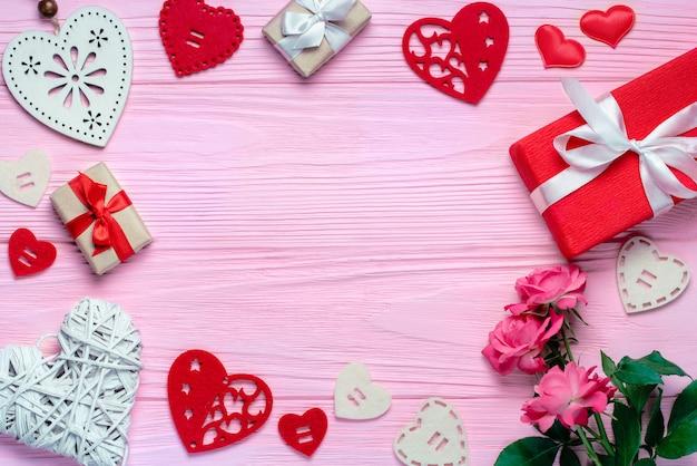 トップビューholdiay、聖。バレンタインのフラットレイ