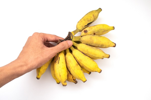 Держит банан, изолированные на белом фоне