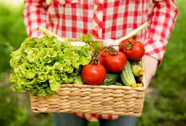 Держа ведро с помидорами и огурцами