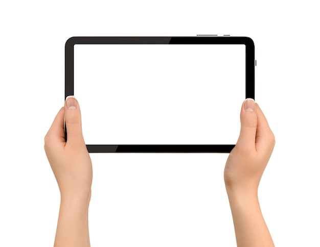 격리 된 흰 벽에 손에 디지털 태블릿을 들고