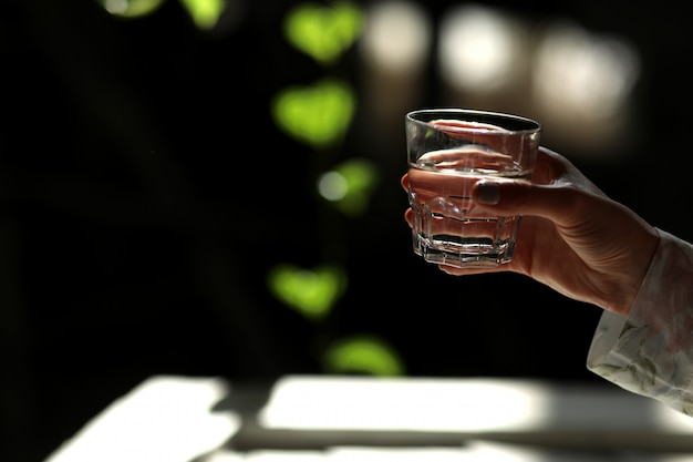 Holding a glass of water on a dark background with green leaves.