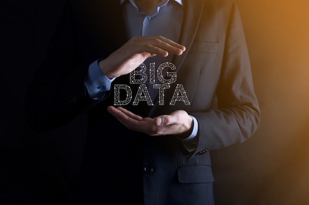 비문을 보유하고 있습니다. big data.storage network online server concept.social 분석 표현