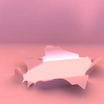Hole on pink paper