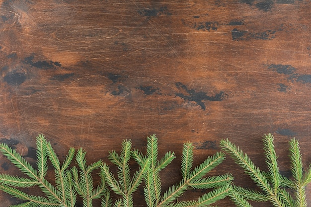 Holiday background of christmas fir branches, spruce, juniper, fir, larch, pine cones with light. xmas and new year theme. flat lay, top view