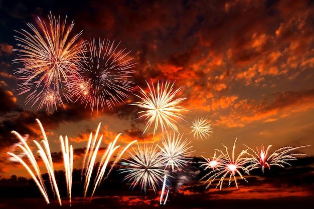 Holiday background with beautiful fireworks and majestic sky Premium Photo