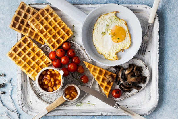 Holiday breakfast with egg on waffle food photography