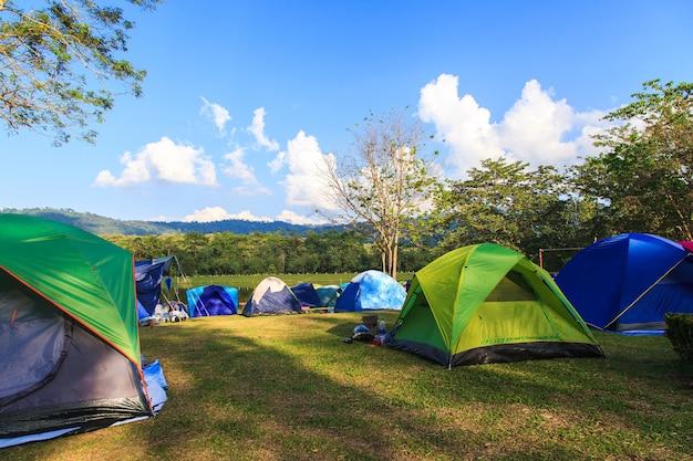아침 일출에 황혼 배경으로 휴가 캠핑