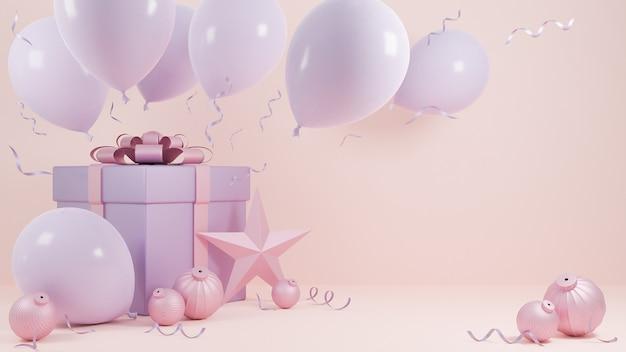 ホリデークリスマスと新年あけましておめでとうございますパステルピンク色の背景、ギフトボックスとバルーン。、3dモデルとイラスト。