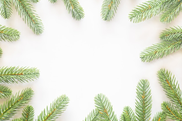 Holiday christmas card background on a white background from flat lay.