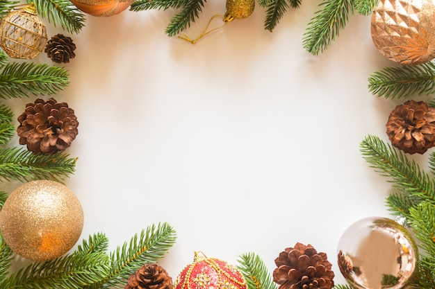 Holiday christmas card background with festive decoration