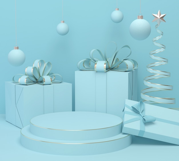 Holiday christmas pastel color background with a gift box and podium display stand, 3d rendering.
