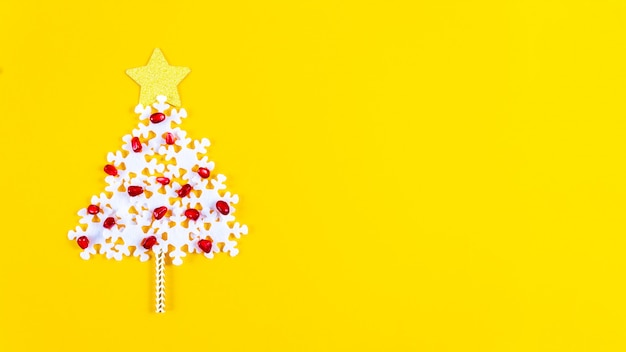 Holiday concept. christmas banner with creative tree.