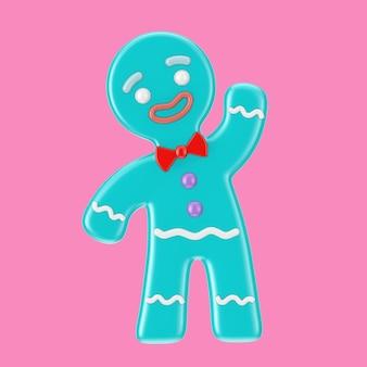 ピンクの背景にデュオトーンスタイルのホリデーデコレーションクラシックブルージンジャーブレッドマンクッキー。 3dレンダリング